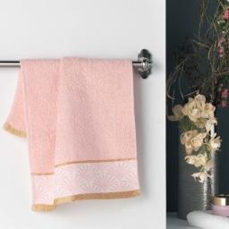 Serviette invite 30 x 50 cm eponge unie jacquard goldy Rose/or