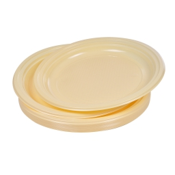 set 20 assiettes plates ps ø22cm -  creme
