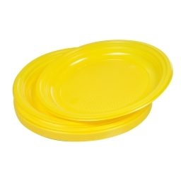 set 20 assiettes plates ps ø22cm -  jaune