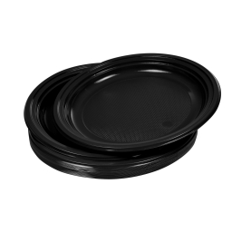 set 20 assiettes plates ps ø22cm - noir