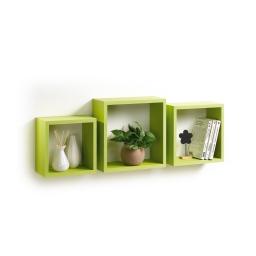 Set 3 cubes gigognes  23 x 23/26.5 x 26.5/30 x 30 cm epaisseur 1.5 cm Anis
