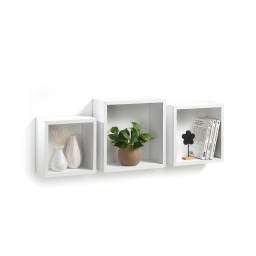 Set 3 cubes gigognes  23 x 23/26.5 x 26.5/30 x 30 cm epaisseur 1.5 cm Blanc
