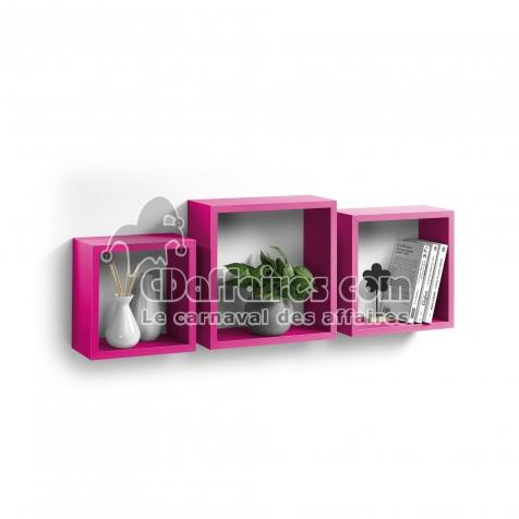 Set 3 cubes gigognes  23 x 23/26.5 x 26.5/30 x 30 cm epaisseur 1.5 cm Fuchsia