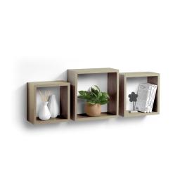 Set 3 cubes gigognes  23 x 23/26.5 x 26.5/30 x 30 cm epaisseur 1.5 cm Gris ceruse