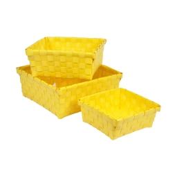 set 3 paniers tresse plastique 14.5/18/21.5cm vitamine jaune