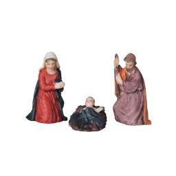 set 3 santons nativité polyrésine l14*l12,5*h4cm multicolore