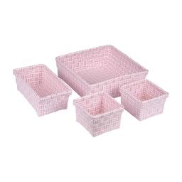 set 4 paniers tressé plastique 11/21/23cm sweet home bicolore rose poudre/blanc