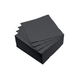 set 40 serviettes microgauffrées 2 plis 25x25cm - 17gr/m3 - noir