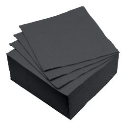 set 40 serviettes microgauffrées 2 plis 38x38cm - 17gr/m3 - noir