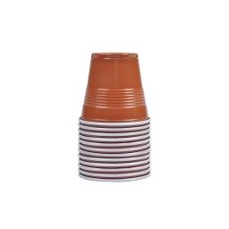 set 50 gobelets plastiques expresso 8cl ps - marron/blanc