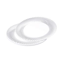 set 6 assiettes blanches avec contour argent en ps - ø23cm