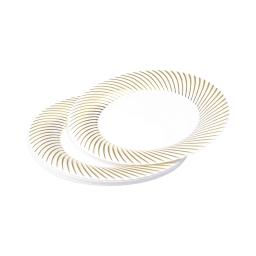 set 6 assiettes blanches avec contour or en ps - ø23cm
