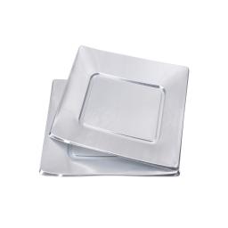 set 6 assiettes carrées en ps - 18cm - argent