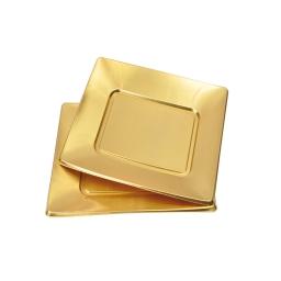 set 6 assiettes carrées en ps - 18cm - or