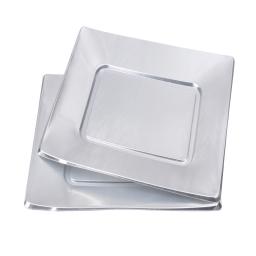 set 6 assiettes carrées en ps - 23cm - argent