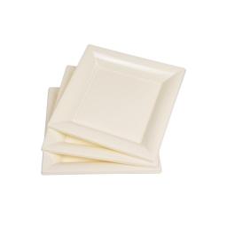 set 6 assiettes carrées ps 18cm creme