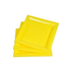 set 6 assiettes carrées ps 18cm jaune