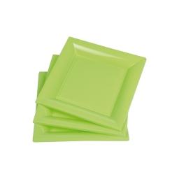set 6 assiettes carrées ps 18cm vert