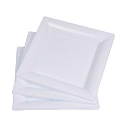 set 6 assiettes carrées ps 23cm - blanc
