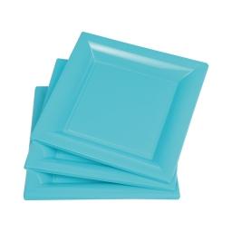 set 6 assiettes carrées ps 23cm - bleu