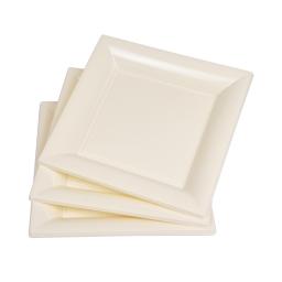 set 6 assiettes carrées ps 23cm - creme