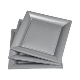 set 6 assiettes carrées ps 23cm - gris