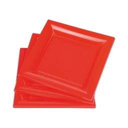 set 6 assiettes carrées ps 23cm - rouge