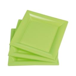 set 6 assiettes carrées ps 23cm - vert