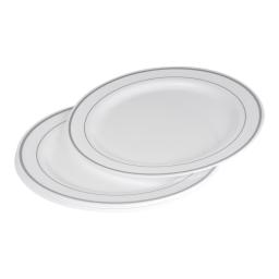 set 6 assiettes plastiques blanches en ps lisere argent ø23cm