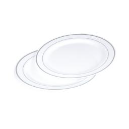 set 6 assiettes plastiques blanches ps lisere argent ø19cm