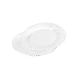 set 6 assiettes rondes en ps - ø18cm - blanc