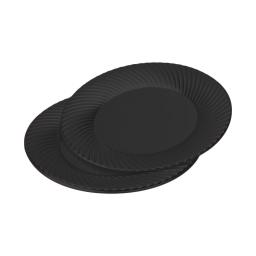 set 6 assiettes rondes en ps - ø23cm - noir