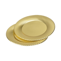 set 6 assiettes rondes en ps - ø23cm - or