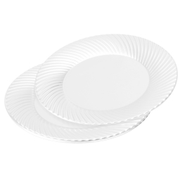 set 6 assiettes rondes en ps - ø25cm - blanc