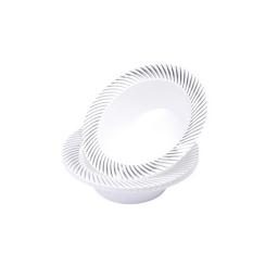 set 6 bols blanc avec contour argent en ps - 177ml