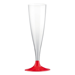 set 6 flutes a champagne en ps 14cl - rouge