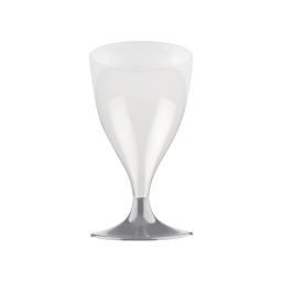 set 6 verres a pied eau/vin en ps 18cl - gris