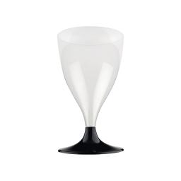 set 6 verres a pied eau/vin en ps 18cl - noir
