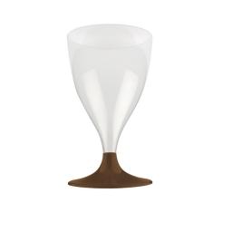 set 6 verres a pied eau/vin en ps 20cl - chocolat