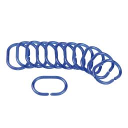 set de 12 anneaux pour rideau de douche plastique translucide vitamine bleu roi