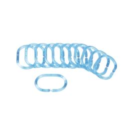 set de 12 anneaux rideau de douche plastique translucide vitamine bleu ocean