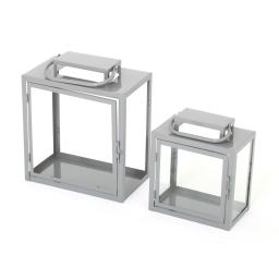set de 2 lanternes gris anthracite en metal - 23*14.5*h26.5cm - 30*18*h35cm