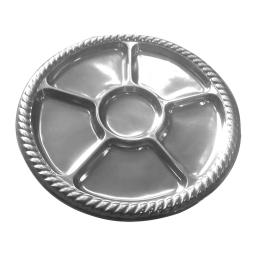 set de 2 plats ronds bordure tressée ø30 cm avec 6 compartiments argent