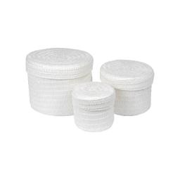 set de 3 boites rondes plastique tressé ø10/ø15/ø18cm trendy blanc