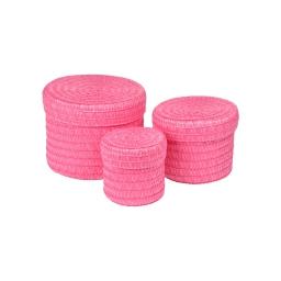 set de 3 boites rondes plastique tressé ø10/ø15/ø18cm trendy fuchsia