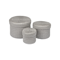 set de 3 boites rondes plastique tressé ø10/ø15/ø18cm trendy gris clair