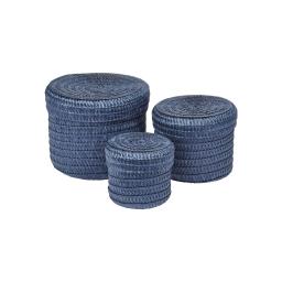 set de 3 boites rondes plastique tressé ø10/ø15/ø18cm trendy indigo