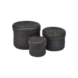 set de 3 boites rondes plastique tressé ø10/ø15/ø18cm trendy noir