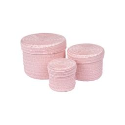 set de 3 boites rondes plastique tressé ø10/ø15/ø18cm trendy rose poudré