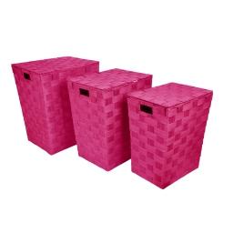 set de 3 coffres a linge tressés papier douceur d'interieur h.46>54cm fuchsia